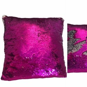 Sequin pink and silver throw pillow 14 x 14 inches